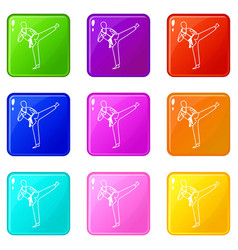 Wushu master icons 9 set vector