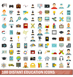 100 distant education icons set flat style vector image vector image
