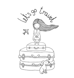 Beautiful little girl on the suitcase vector image