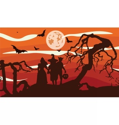Scarecrows silhouette at sunset vector image