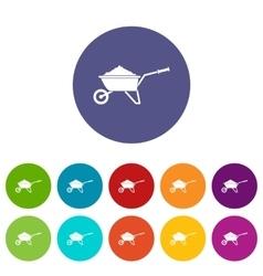 Wheelbarrow loaded with soil set icons vector