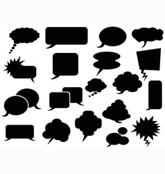 Black speech bubbles icons vector