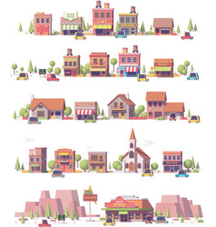 Low poly 2d small town scenes vector