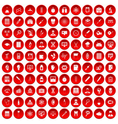 100 lab icons set red vector