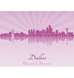 Dallas skyline in purple radiant orchid vector