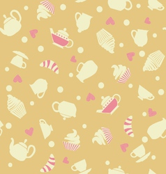 Cupcakes tea cups background vector