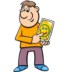 man drawing on tablet cartoon vector image