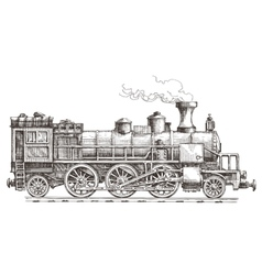 Retro steam locomotive logo design template vector