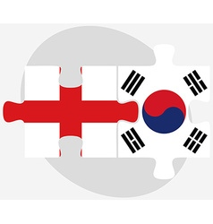 England and south korea flags in puzzle vector