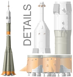 Hidetailed space rocket vector