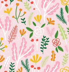 Flowers leaves and berries seamless pattern on vector