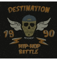 Vintage label with skull for hip-hop design vector