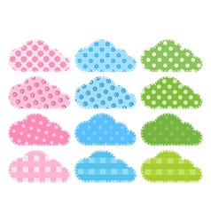 Set blue green clouds of fabric with different vector