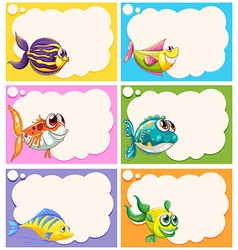 Label design with fancy fish vector