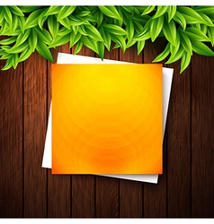 Abstract orange note paper on wooden background vector image vector image