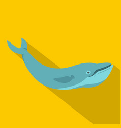 blue whale icon flat style vector image vector image