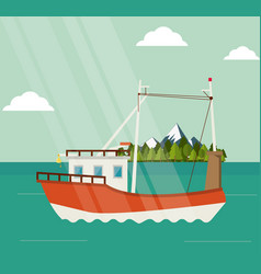 Boat ship sea design vector
