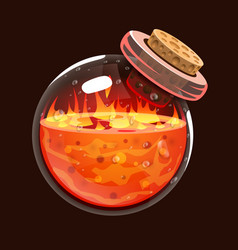 bottle of fire game icon of magic elixir vector image