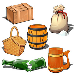box barrel sack basket broken bottle and mug vector image