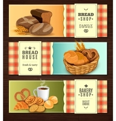 Bread house horizontal banners set vector