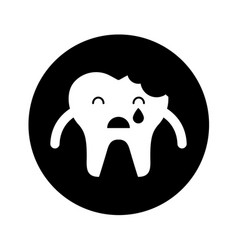 Broken tooth crying character icon vector