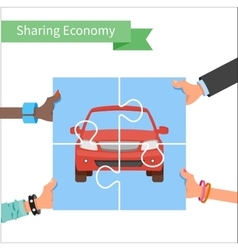 Car share concept Sharing economy and vector image