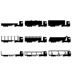 cargo trucks silhouette 02 vector image vector image