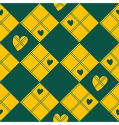 Diamond chessboard yellow green heart valentine vector