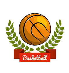Emblem play basketball icon vector