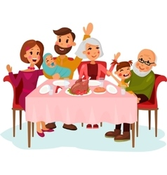 Family on traditional holiday dinner vector