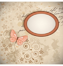 floral background with a butterfly vector image