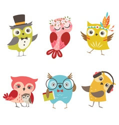 Funny owls vector