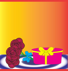 Gift box and bouquet of flowers vector