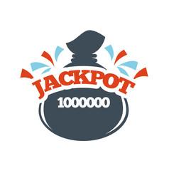 Jackpot bingo lotto win money bag lottery vector