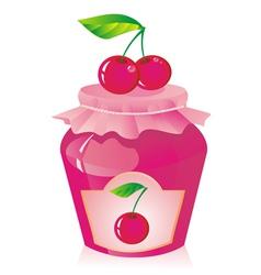 Jar of cherry jam vector image