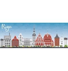 Riga skyline with landmarks and blue sky vector