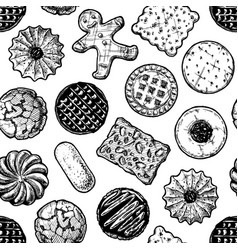 Seamless pattern with different tasty cookies vector