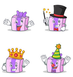 Set of gift character with crazy magician king vector