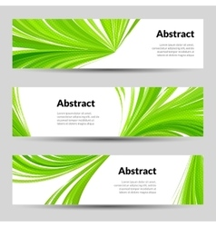 Set of Green Curved Lines Backgrounds Banners and vector image