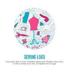 Sewing logo for hand made products for sewing vector image