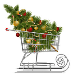 Shopping sled with christmas tree vector