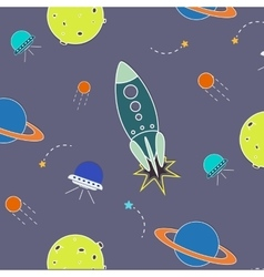 Space pattern rocket aliens vector