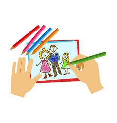 Two hands coloring with pencil a coloring book vector