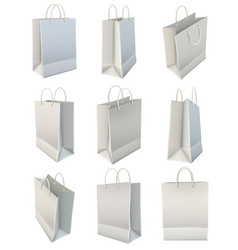 white blank paper shopping bag set vector image