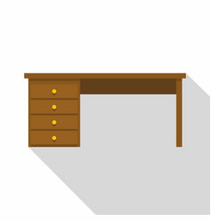 Wooden office desk icon flat style vector