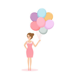 young woman girl holding balloon concept of vector image vector image