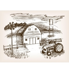 Farm landscape sketch vector