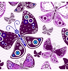 Seamless vivid pattern with violet butterflies vector