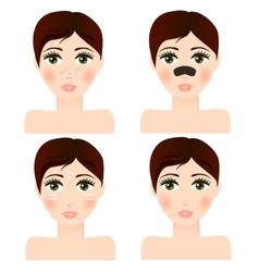 Girl portrait with facial skin patch vector