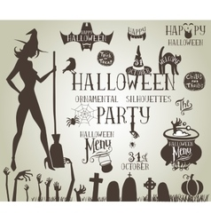 Halloween silhouettes for decor vector image